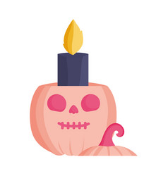 pumpkin candle icon trick or treat happy halloween vector image