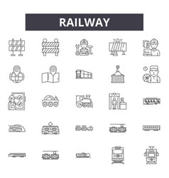railway line icons signs set linear vector image