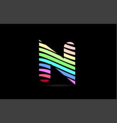 rainbow n alphabet letter stripes logo icon design vector image