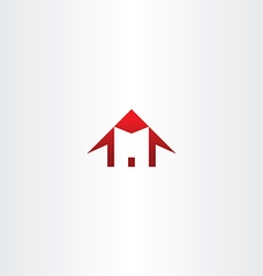 Red house letter m home icon logo vector