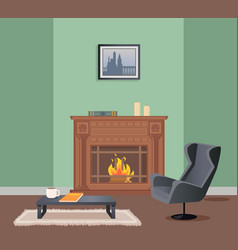 room with fireplace armchair and table vector image