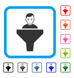 Sales funnel client framed sadly icon vector