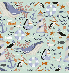 Seamless pattern background with whales vector