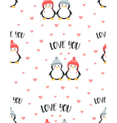 seamless pattern with cute couple penguins vector image