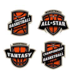 set basketball sports logos vector image