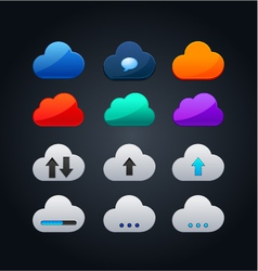 set of cloud icon computing concept design vector image vector image
