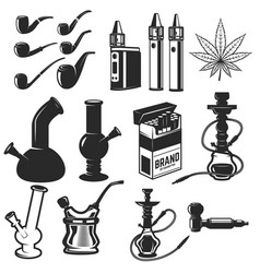 Set of smoking equipment bongs vapes smoking vector