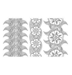 Set three seamless pattern floral borders vector