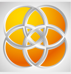 shape with overlapping circles motif geometric vector image