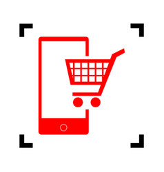 shopping on smart phone sign red icon vector image