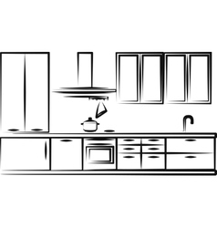 simple kitchen furniture vector image