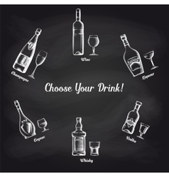 Sketch popular drinks on blackboard vector
