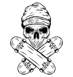 Skull skater with hat and two crossed vector