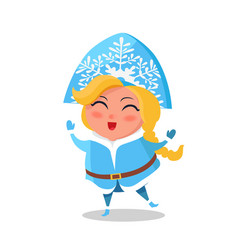 Snow maiden in blue warm winter cloth sings carol vector