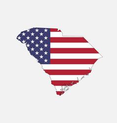 south carolina map on american flag vector image