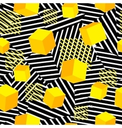 Striped geometric seamless pattern trendy memphis vector image