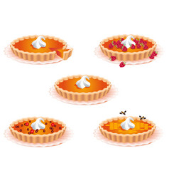 Sweet pies for the design of food confectionery vector