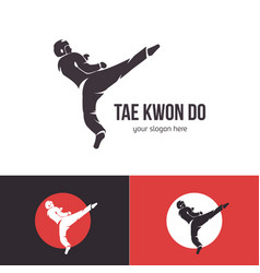 Taekwondo logo template martial arts badge vector