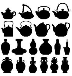 tea teapot wine bottle japanese chinese oriental vector image