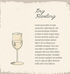 template with hand drawn wine glass vector image