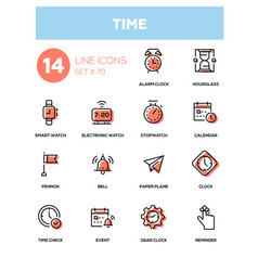Time concept - line design icons set vector