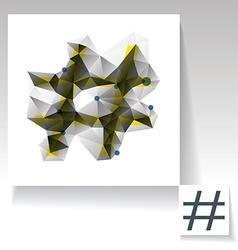 Triangulated hashtag symbol vector image