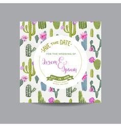 Tropical cactus wedding card invitation card vector