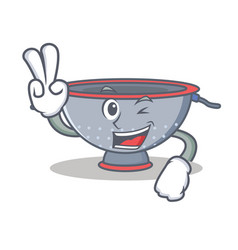 Two finger colander utensil character cartoon vector