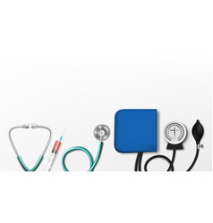 various doctor medical equipment isolated on white vector image