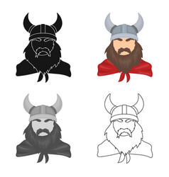 viking icon in cartoon style isolated on white vector image