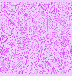 violet floral seamless background template vector image