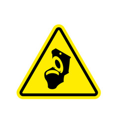warning wc toilet bowl on yellow triangle road vector image