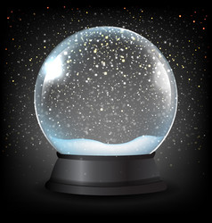 winter snow globe with black background vector image
