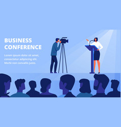 woman on stage front audience bussines conference vector image