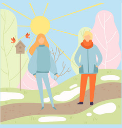 young man and woman wearing warm clothes walking vector image