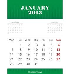 January 2013 calendar design vector image
