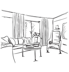 modern interior sketch hand drawing furniture vector image