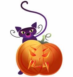 pumpkin and cat vector image vector image