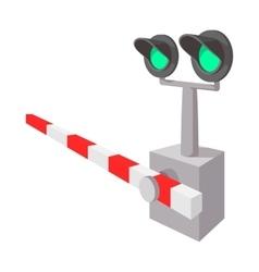 Railroad crossing sign cartoon icon vector image