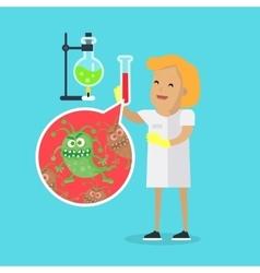 Scientist woman investigate bacterium vector
