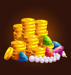 the treasure of gold coins vector image