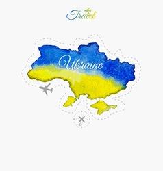 Travel around the world Ukraine Watercolor map vector image vector image