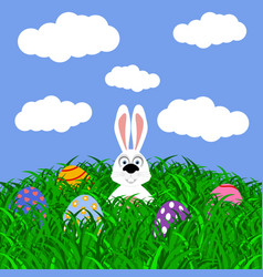 easter bunny and eggs with stickers on the grass vector image