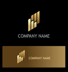 line business gold company logo vector image