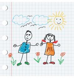 cartoon doodle children vector image vector image