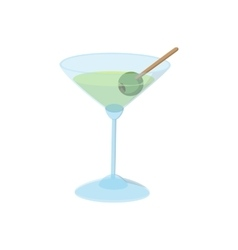 Cocktail with green olive icon cartoon style vector image vector image