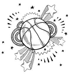 doodle pop basketball vector image