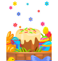 easter festive flat concept with sweets vector image