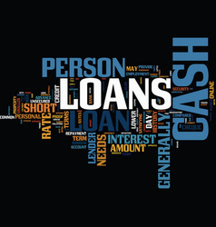 endorse your needs with cash loans text vector image