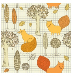 fox and tree wallpaper pattern vector image vector image